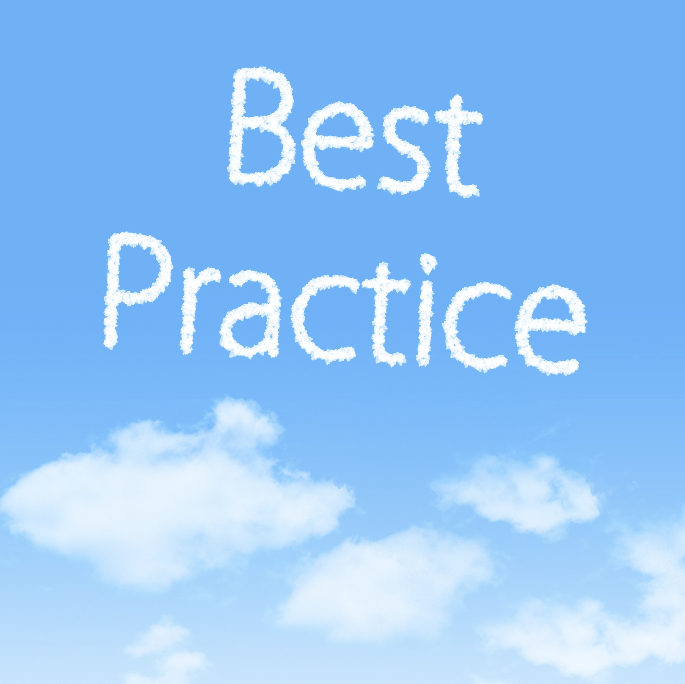 Best Practice cloud icon with design on blue sky background